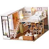 Baosity 1/24 DIY Wooden 3D Miniature Dollhouse Model Kit Fashion Duplex Apartment