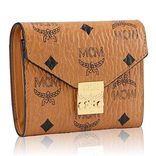 a4dedd4b4fdc 財布 レディース 人気 長財布 三つ折り ミニ財布 コニャック Patricia Visetos Studded Trifold Wallet  Cognac