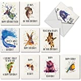"""10 Watercolor 'Wildlife Expressions' Blank Animal Birthday Cards with Envelopes - Assorted Note Cards Featuring Funny Birthday Puns for Kids & Adults - Stationery Notecards (4"""" x 5 ¼"""") #M2954BDB"""