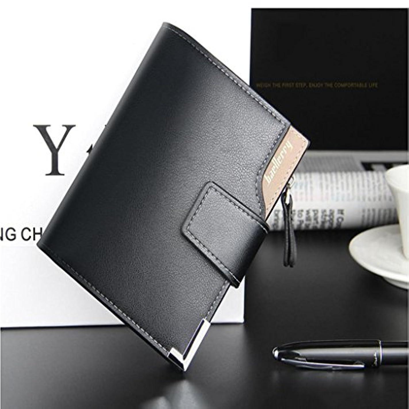 グレーアプト楽しませるSONONIA 2個 ジッパー式 男性 ブラック スリム 財布 革財布 カードホルダー