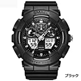 1stモール SMAEL オシャレ アナデジ 腕時計 メンズ 男性 アラーム クロノグラフ 多機能 スポーツウォッチ (ブラック) ST-SME36-BK