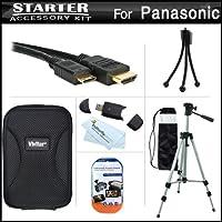 スターターアクセサリーキットfor the Panasonic dmc-zs20デジタルカメラはデラックス携帯ケース+ 50三脚with Case + Mini HDMIケーブル+ USB 2.0カードリーダー+ LCDスクリーンプロテクター+ミニ卓上三脚+マイクロファイバークリーニングクロス