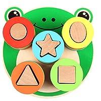 HuaQingPiJu-JP ラブリーカエルのビルディングブロック列赤ちゃんジオメトリ認知マッチングおもちゃクリエイティブギフト