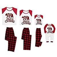 Family Matching Christmas Pajamas Sleepwear Letter Printed Long Sleeve Tops Green Striped Pajamas Pant Set