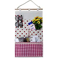 Kingreeドアの上?壁面の掛けストレージバッグ、壁掛け収納ポケット、壁掛け式袋、収納容器、整理?整頓のためのボッケト、フック付き (6 Pockets-Red Dot)