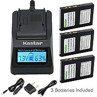 Kastar超高速充電器( 3x Faster )キットとバッテリ( 3- Pack ) for bn-vm200bn-vm200u Work with JVC gz-mc100gz-mc200gz-mc500gz-mc100ek gz-mc200e gz-mc500ek gz-mc100ex gz-mc200ex gz-mc500ex gz-mc100us gz-mc200us gz-mc500usカメラ[ over 3x通常より高速充電器ポータブルUSB充電機能を]