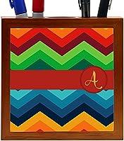 Rikki Knight Letter A Initial on Zig Zag Design 5-Inch Tile Wooden Tile Pen Holder (RK-PH45862) [並行輸入品]
