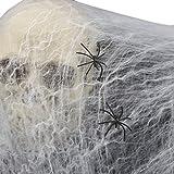 ligangam フェイク 蜘蛛の巣 巨大クモ 付き オリジナル ハロウィン 装飾 飾り デコレーション 衣装 仮装 スパイダーウェブ ハロウィーン 小道具 恐ろしい パーティー 装飾 不気味 蜘蛛の巣 お化け屋敷 2個セット