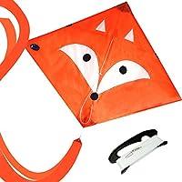 EMMAKITES Mr. Fox ダイヤモンドカイト 凧 子供凧 100M凧糸とハンドルセット付き 子供 初心者 おもちゃ