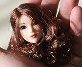 DuDu 1/6 素体 ヘッド パーツ ガール 女性 頭 目玉可動 塗装済 植毛タイプ 髪付き アクセサリ アクションフィギュア (茶髪パーマー)