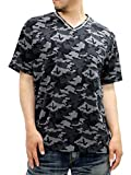 AIRWALK(エアウォーク) 大きいサイズ メンズ Tシャツ 迷彩 Vネック ブラック 5L