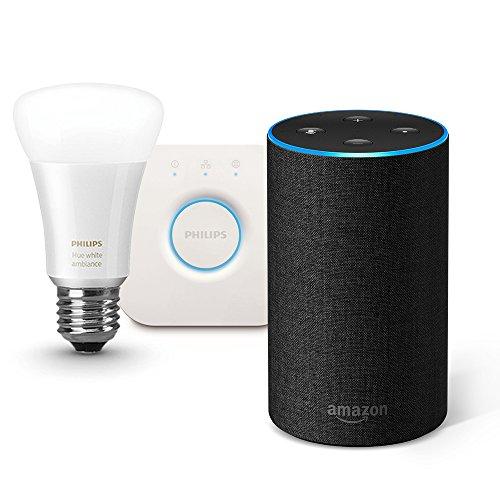 Amazon Echo (Newモデル)、チャコール (ファブリック) + Philips Hue ホワイトグラデーション シングルランプ + Philips Hue ブリッジ
