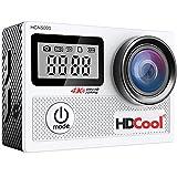 HDCool HCN5000 アクションカメラ 4K WIFI 20MP 1080フルHD 2インチLCD&0.96インチフロントスクリーン 170度広角 手ブレ補正 30M防水 ウェアラブルカメラ 1050mAh充電式バッテリ2つ付き (シルバー)