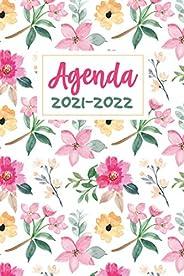Agenda 2021-2022: Fleuri Agenda Journalier et semainier avec Calendrier 2021-2022 - Mini Planificateur hebdoma