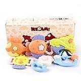 歯固めおもちゃ6セット KIDAMI ゴム製歯がためおもちゃ 歯固め4セットとベル2セット ベビータンバリン 赤ちゃん向けの知育玩具 出産お祝い