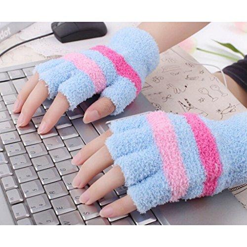 USB ミトン指なし温水手袋オフィスホーム冬のハンドウォーマー - ブルー