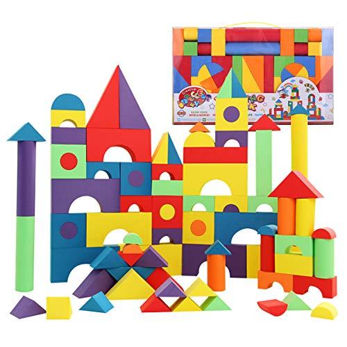 Bemixc 積み木 赤ちゃんおもちゃ 女の子 男の子 柔らかいEVA素材 知育玩具 贈り物 誕生日お祝い クリスマスプレゼント (131PCS)