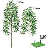七夕笹 竹林のような大きい見応えのある本格笹2本立てセット 240cm+210cm  4288