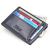 Kinzd® 小さい財布多カードポケット メンズ薄型本革財布 カードと紙幣収納 RFIDブロッキング (ブルー)