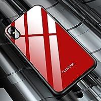 スマホケース 背面保護 FLOVEME0.8mm強化ガラス耐衝撃保護シェルIPhone X用 Phone カバー 保護スマホケース (サイズ : Ipxg9103r)