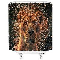 ライオンシャワーカーテン、パワフルなブラウンアフリカライオンヘッドキングの肖像画男性アジアマジェスティックライオン野生動物動物自然サファリプレデターブラックファブリックバスルームカーテン70x70インチフック付き 180X180 CM