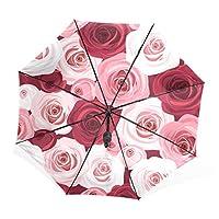 マキク(MAKIKU) 日傘 おりたたみ 晴雨兼用 uvカット 折り畳み傘 軽量 レディース 手開き 傘 メンズ バラ 花柄 紫外線対策 頑丈な8本骨 収納ケース付 携帯用傘