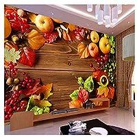 カントリースタイルのフレッシュフルーツの壁画-カスタム写真の壁紙の背景の壁スーパーマーケットのフルーツショップのリビングルームの装飾の壁紙200cm(W)x140cm(H)