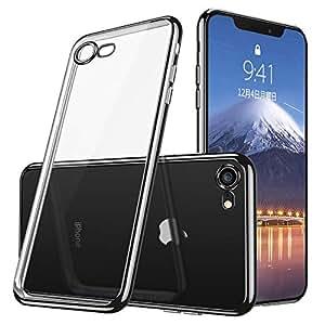 iphone7 ケース/iphone8 ケース透明TPU 防塵 指紋防止 ソフト クリア メッキ加工 耐衝撃 Qi 充電 対応 最軽量 超薄型 一体型 人気 ケース ブラック