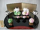 陶器の雛人形★招き猫のひな祭り揃い★萬古焼き 日本製  n2