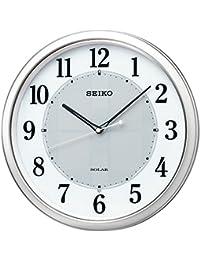 セイコー クロック 掛け時計 SOLAR+ ソーラープラス 電波 アナログ 銀色 メタリック SF243S SEIKO