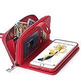 【BRG】財布 + iphone ケース 合一になった! 7plus 用 レーザ アイフォン ケース カバー 分離可能手帳型、高機能財布型、ストラップ付き( iPhone7plus レッド )【18ヶ月間保証付き】