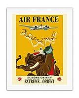 ヨーロッパ - 東方 - 極東 - エールフランス - 象とキャリッジ - ビンテージな航空会社のポスター によって作成された レイ・バート・コック c.1938 - キャンバスアート - 51cm x 66cm キャンバスアート(ロール)