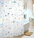 お風呂 も 楽しい シャワーカーテン 防水 防カビ (H2O, 180 × 180)