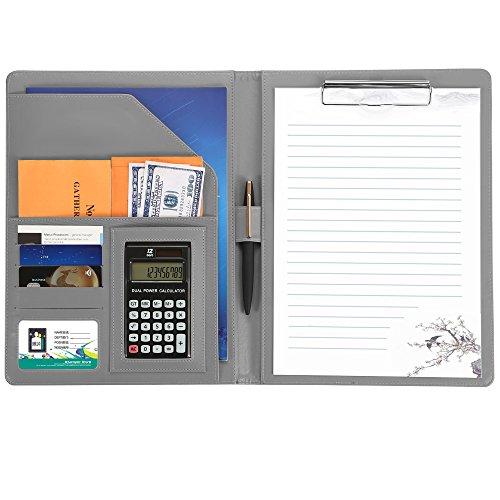 ENGREPO a4バインダー クリップ ボー a4ファイル多機能フォルダー12位電卓計算機付きA4書類契約フォルダービジネスオフィス用品 レザー高級感 スピーチ会議用パット,シルバー.