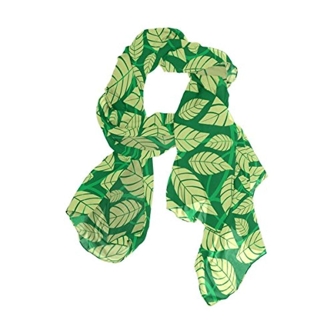 セッション絶縁するスポーツをするユサキ(USAKI) ストール レディース 春夏 大判 UVカット 冷房対策 スカーフ シルク 肌触り ショール パーティー 90×180cm 葉 柄 グリーン