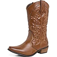 SheSole Womens Cowboy Cowgirl Western Wide Calf Boots