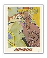 パリ、フランス - 「ムーランルージュのイギリス人」にインド航空のマハラジャが紛れ込む - ロートレックさん、ごめんなさい - エアインディアインターナショナル - ビンテージな航空会社のポスター c.1966 - アートポスター - 41cm x 51cm