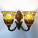 Tiffany Style Wall Lamp Sconces,Baroque 7 Inches Stained Glass LED Wall Light Fixture for Bedroom Living Room Corridor, Dressing Table Bathroom Mirror Headlight,Doublehead