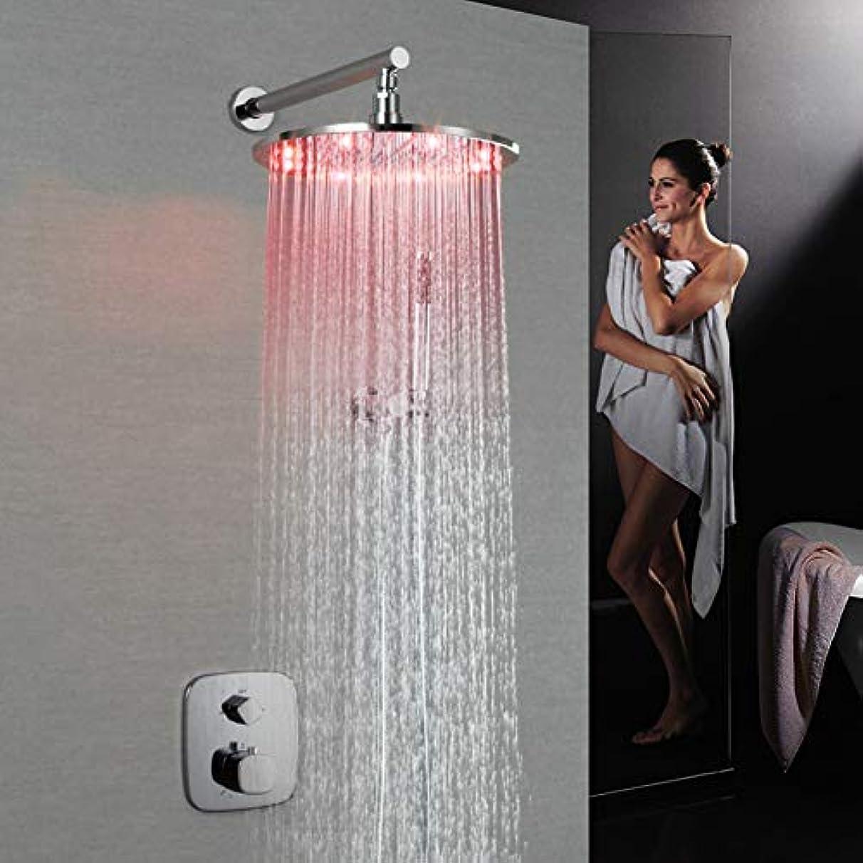 黒くする広告する意味するLEDシャワーシステム、浴室シャワーミキサーセット現代的なレインシャワー広範なハンドシャワー含まれているサーモスタットLEDブラスバルブハンドルクロム、シャワーの蛇口 (サイズ : 20x20cm)