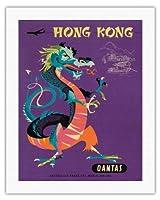 香港 - カンタス航空 - 中国の宝ドラゴン - ビンテージな航空会社のポスター によって作成された ハリー・ロジャース c.1960s - キャンバスアート - 51cm x 66cm キャンバスアート(ロール)