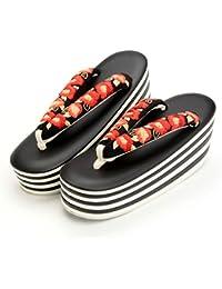 (キステ)Kisste 振袖?袴用 ハイヒール草履 <7枚芯×牡丹刺繍> 黒白台 黒花緒 フリーサイズ 7-1-03063