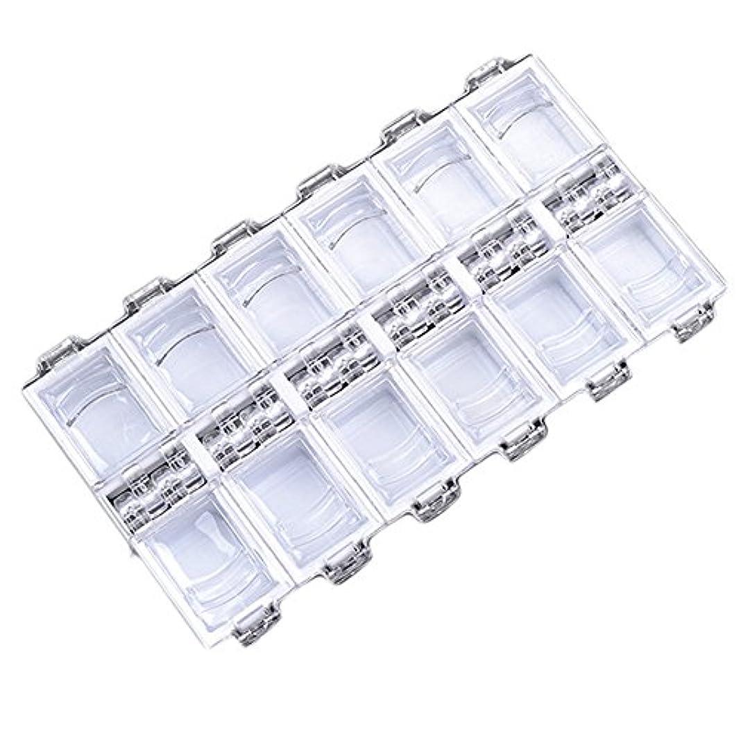 橋面倒スキム12グリッドファッション独立アクリルネイル装飾収納ボックス (WH)