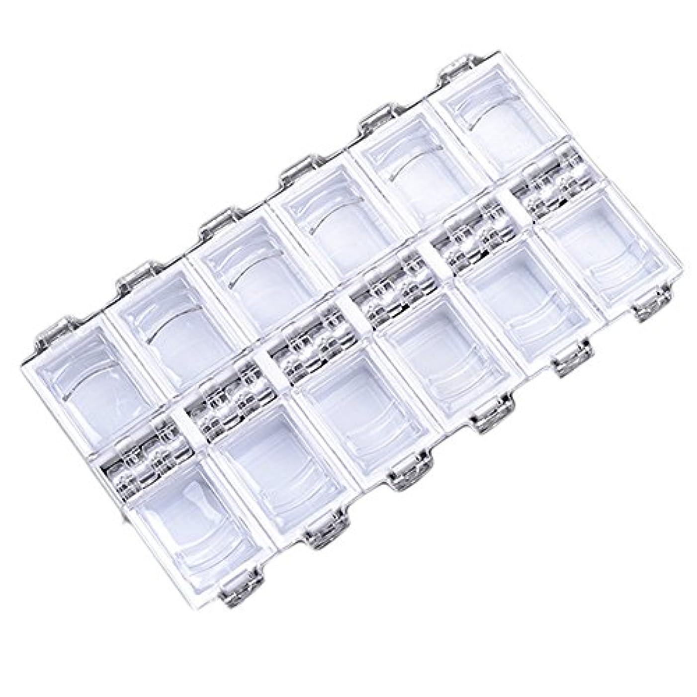 発症むさぼり食う膨らませる12グリッドファッション独立アクリルネイル装飾収納ボックス (WH)