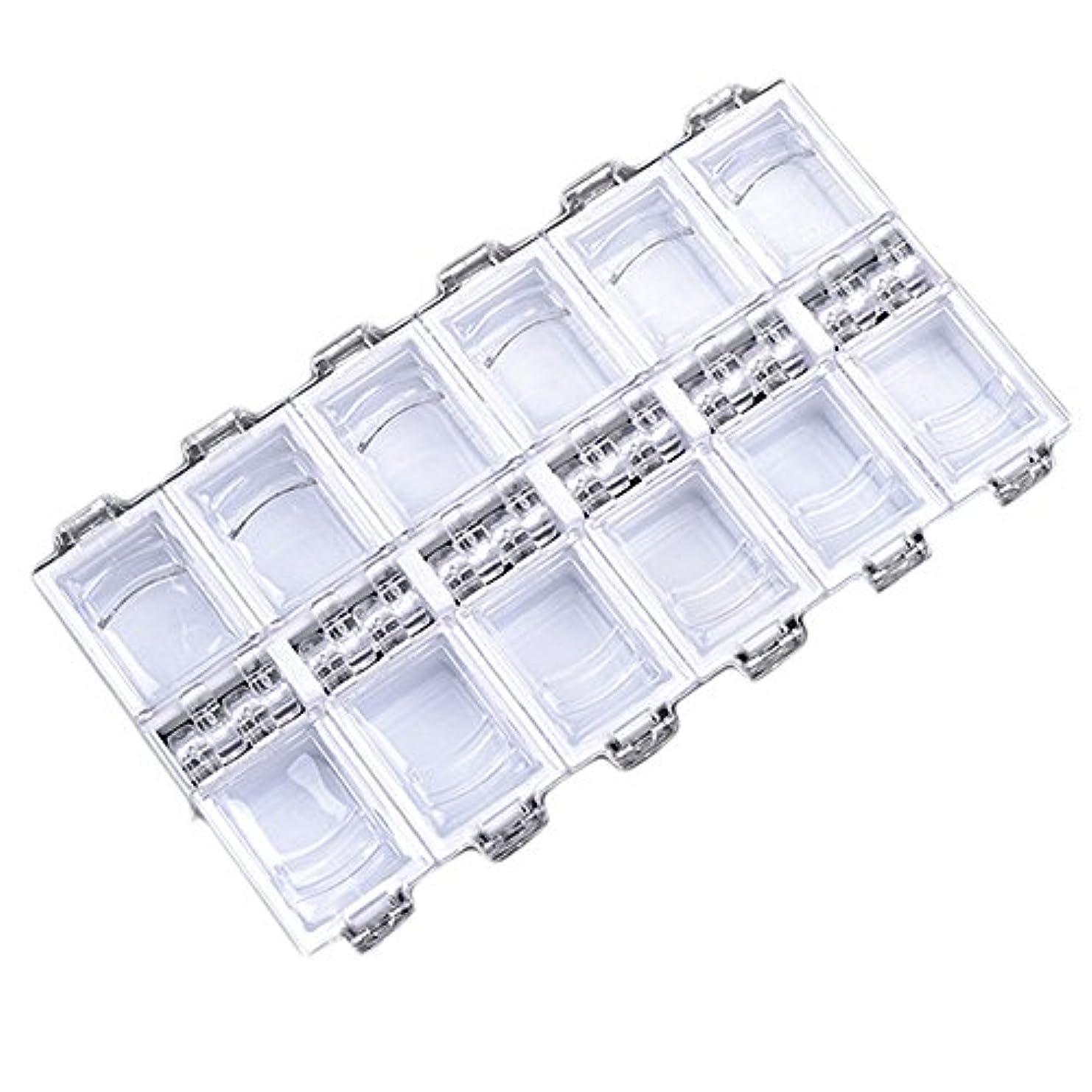 領収書テクトニック聞く12グリッドファッション独立アクリルネイル装飾収納ボックス (WH)
