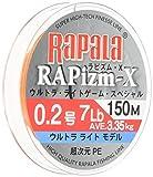 Rapala(ラパラ) ライン ラピズム・X 150m/0.2号/7lb/ファンタスティックオレンジ RPZX150M02FO