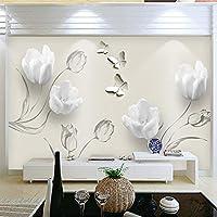 LJJLM カスタム3D写真の壁紙ファッションミニマリストチューリップバタフライ3Dアート壁画リビングルームのソファの背景の壁紙家の装飾-200X150CM