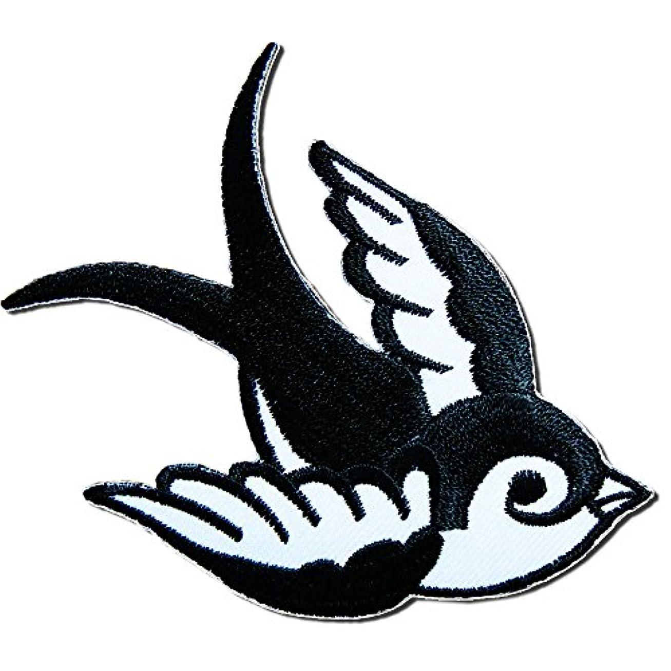 であることホース半島刺繍アイロンワッペン・アップリケ【スワロー/つばめ】黒×白・右向き