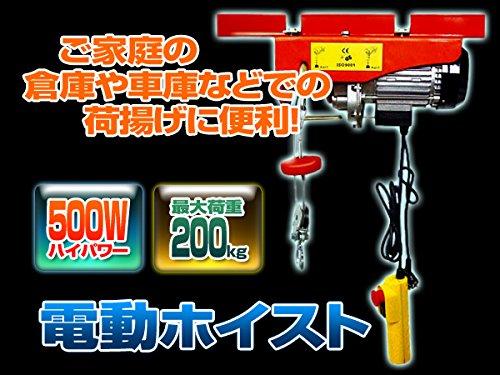 SEIKOH 電動ウインチ(ホイスト) 最大200kg リモコン付 モーター出力 500W 家庭用100Vコンセント対応 A20A