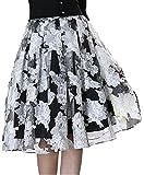 (シャンディニー) Chandeny 花柄 フレア スカート レディース ひざ 丈 A ライン フォーマル 結婚式 12113 ブラック XL サイズ