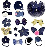 Baby Girl's Hair Clips Cute Hair Bows Baby Elastic Hair Ties Hair Accessories Ponytail Holder Hairpins Set,Ribbon Lined Allig